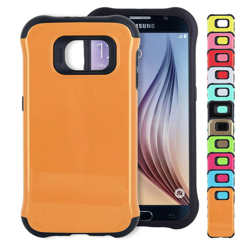 Skque® Soft TPU Hard PC Hybrid Protective Case Cover for Samsung Galaxy S6, Black & Orange
