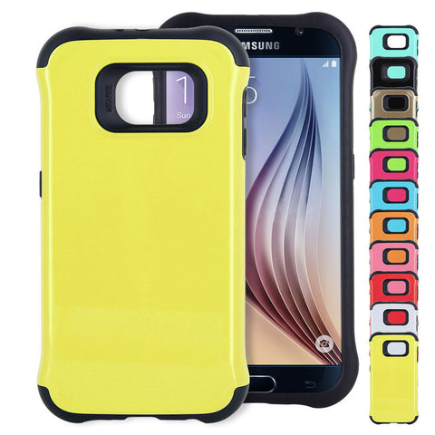 Skque® Soft TPU Hard PC Hybrid Protective Case Cover for Samsung Galaxy S6, Black & Yellow