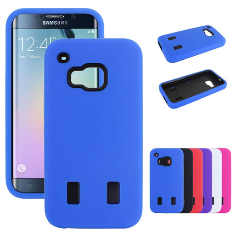 Skque® Hybrid Silicone Hard PC Protection Case Cover for HTC One M9, Black & Blue