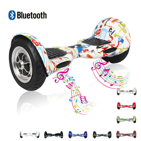 "Balancing Wheel, Skque® 10"" Two Wheel Smart Self Balancing Electric Scooter with Bluetooth Speaker and LED Lights with LG/Samsung/Sanyang/Panasonic 44000mAh battery pack"