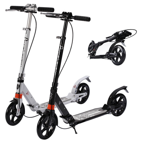 Skque® Dual Suspension Foldable Adult Kick Scooter with Hand Break
