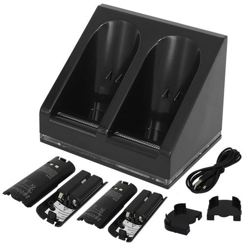 Skque USB Powered Dual Charging Station Dock Stand and 4 Batteries for Nintendo Wii, Black