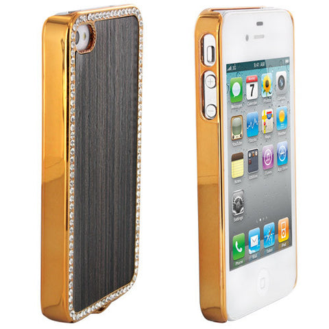 Skque Bling Aluminium Wood Design Back Case Cover for Apple iPhone 4/4S