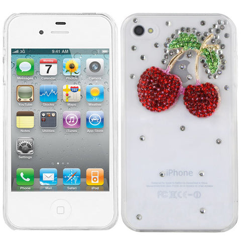 Skque Crystal Rhinestone Strawberry Hard Case Cover for Apple iPhone 4S, Clear