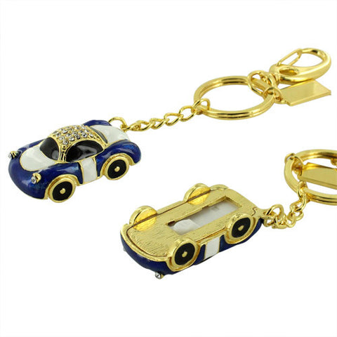 Skque® 16GB Bling Car Shape Key Chain USB 2.0 Flash Memory Drive Disk, Blue