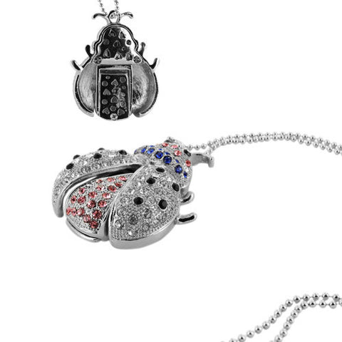 Skque® 2GB Bling Ladybug Necklace USB 2.0 Flash Memory Drive Disk, Silver