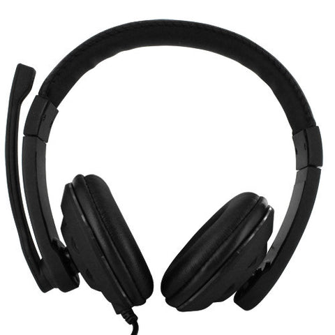 Skque USB Multimedia Stereo Headset Headphone w/ Microphone and Volume Control, Black (KM-8600)