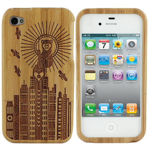 Skque Natural Wood Wooden Monkey Design Hard Case Cover for Apple iPhone 4 4S