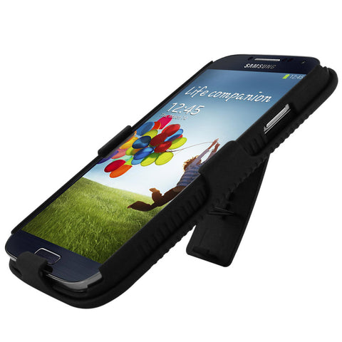 Skque® Hybrid Double Layer Holster Belt Clip Defender w/ Kick Stand Case Cover for Samsung Galaxy S4 I9500, Black