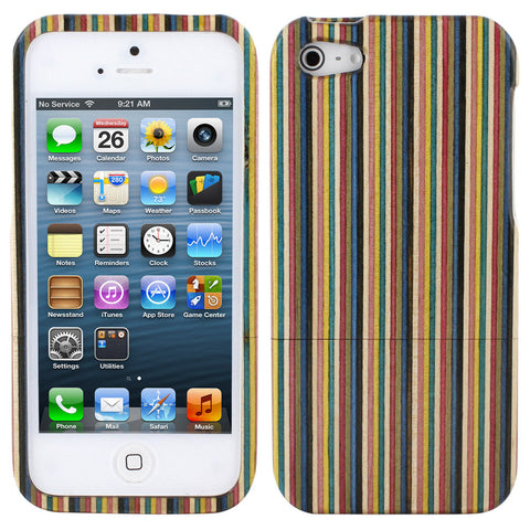 Skque® Colored Stripe Wood Wooden Hard Back Case Cover for Apple iPhone 5