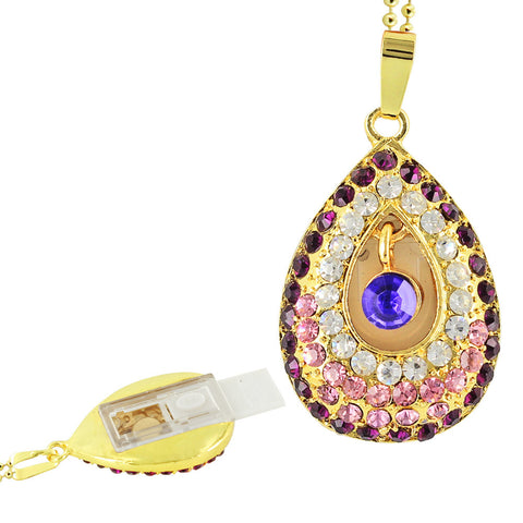 Skque® 16GB Bling Crystal Rhinestone Water Drop USB 2.0 Memory Stick Flash Drive Pendant
