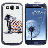 Skque® Bling Crystal Rhinestone Pretty Girl PC Hard Back Case Cover for Samsung Galaxy S3 I9300 (Design 6)