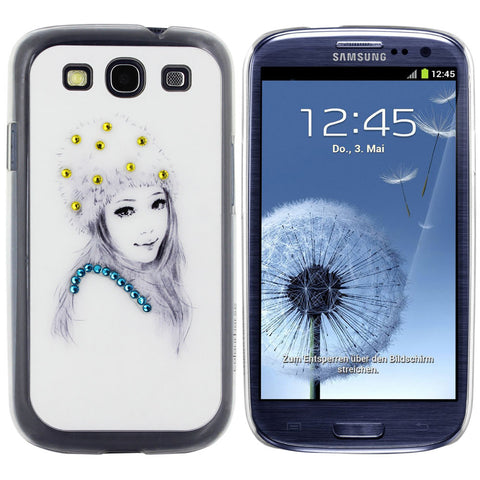 Skque® Bling Crystal Rhinestone Pretty Girl PC Hard Back Case Cover for Samsung Galaxy S3 I9300 (Design 10)