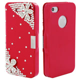 Skque® Flip Magnetic Bling Camellia PU Leather PC Protector Case Cover for Apple iPhone 4/4S, Red