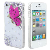 Skque® Bling Crystal Rhinestone Butterfly Back Case Cover for Apple iPhone 4/4S, Hot Pink