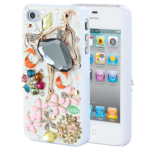 Skque® Bling Crystal Rhinestone Dancing Girl PC Back Case Cover for Apple iPhone 4/4S