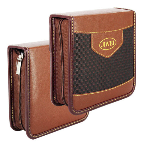 40 Capacity Portable Leather CD DVD VCD Wallet with Grid Storage Bag Music Album, Dark Brown