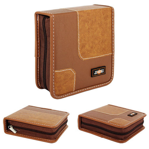 40 Capacity Portable Leather CD DVD VCD Wallet Storage Bag Music Album, Light Brown