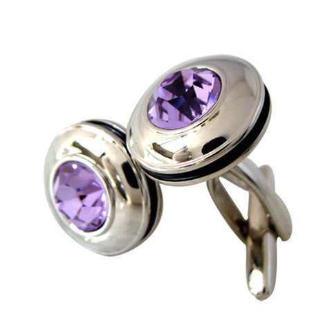 Skque New Classic Elegant Light Purple Crystal Men's Business Suit Wedding Party Cuff Link, Silver