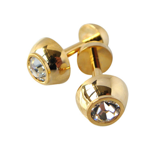 Skque New Bowl Shaped Cute Stylish Clear Crystal Men's Business Suit Wedding Party Cufflink, Gold