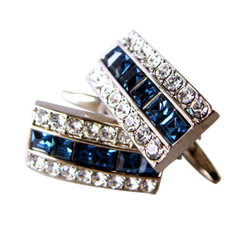 Skque Elegant Stylish Cute Bling Men's Business Suit Wedding Party Cufflinks, White & Dark Blue