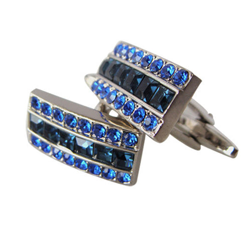 Skque Elegant Stylish Cute Bling Men's Business Suit Wedding Party Cufflinks, Blue & Dark Blue