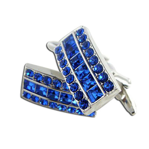 Skque Elegant Stylish Cute Bling Men's Business Suit Wedding Party Cufflinks, Blue
