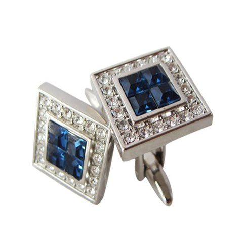Skque New Square Classic Cute Bling Men's Business Suit Wedding Party Cufflinks, White & Dark Blue
