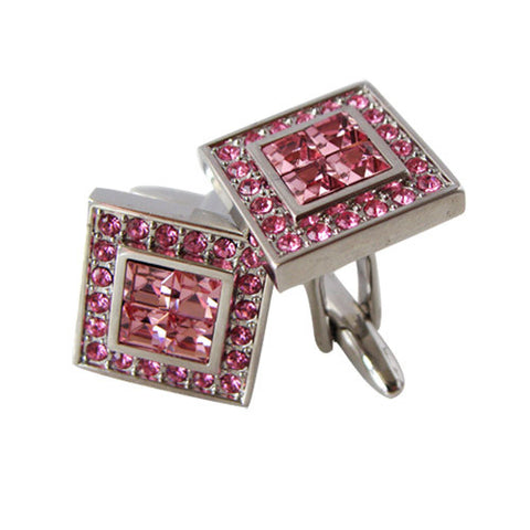 Skque New Square Classic Cute Bling Men's Business Suit Wedding Party Cufflinks, Pink