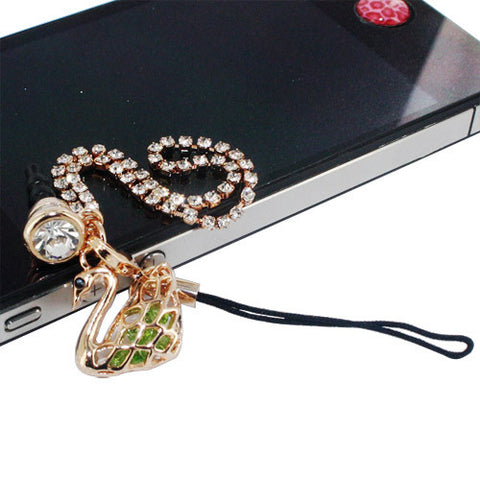 Skque Bling Swan Shape Diamond Crystal Style 3.5mm Anti Dust Cap Plug for Mobile Phone, Green