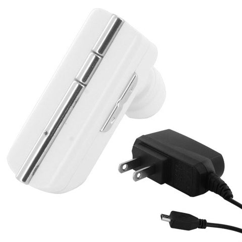 Skque Universal Compact Stylish Bluetooth Stereo Headset WK-300 with US Power Plug-in White