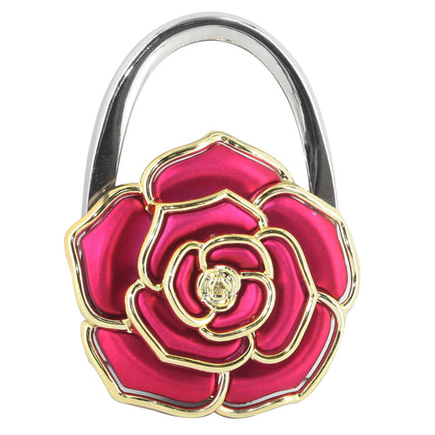 Skque Flower Shaped Pothook Handbag Purse Hanger Table Hook, Rose