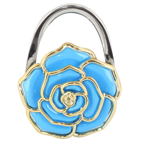 Skque Flower Shaped Pot hook Handbag Purse Hanger Table Hook, Blue