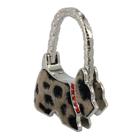Skque Foldable Cute Spotted Dog Shape Bag Handbag Purse Hook Hanger Table Holder-color in brown