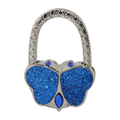 Skque Textured Metal Butterfly Shape Handbag Bag Purse Hanger Hook Table Holder-in jewelry blue