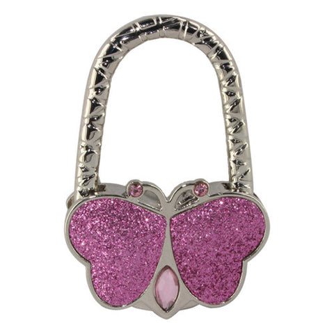 Skque Textured Metal Butterfly Shape Handbag Bag Purse Hanger Hook Table Holder-in pink