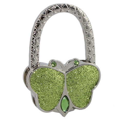 Skque Textured Metal Butterfly Shape Handbag Bag Purse Hanger Hook Table Holder-in green