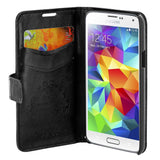 Skque® Flip Magnetic PU Leather PC Protector Case Wallet for Samsung Galaxy S5 mini, Black