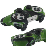 Soft Fitted Silicone Skin Black/Green Camo Camoflauge For Sony Playstation 3 Ps3