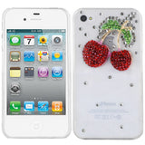 Crystal Rhinestone Strawberry Hard Skin Case Cover For Apple Iphone 4S Clear