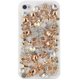 Skque Crystal Rhinestone Bling Golden Skull Case Cover for Apple iPhone 4S, White