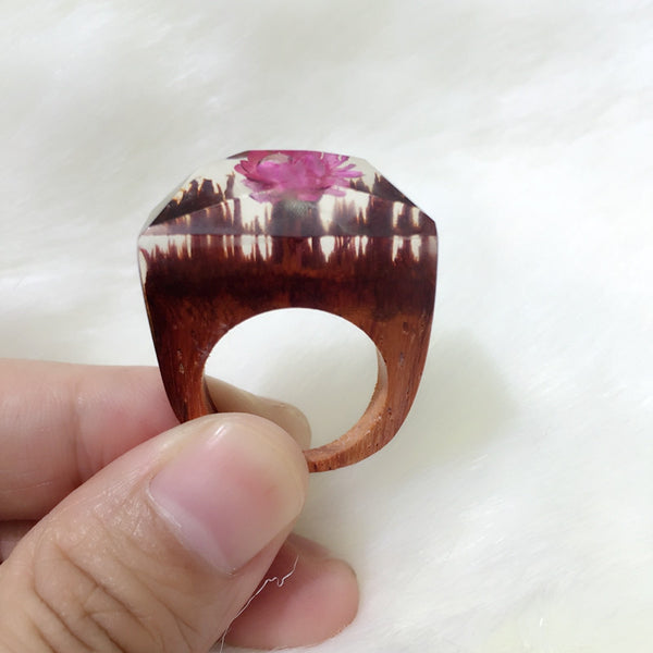 Blosson Pink Flower Wooden Handmade Ring