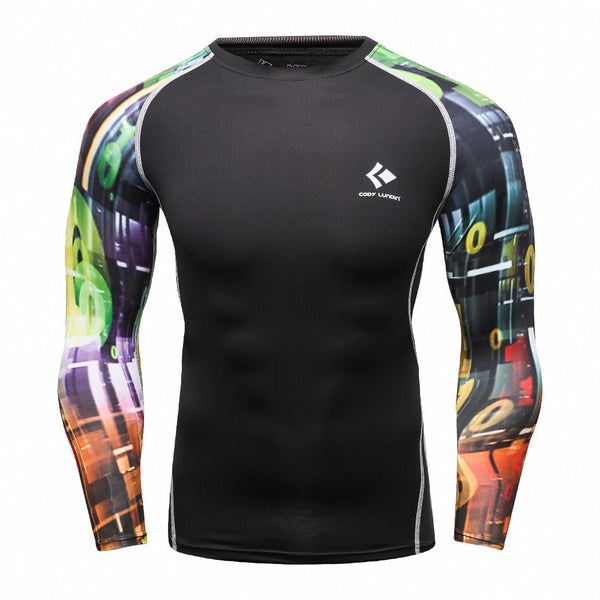 Colorful Splash Black Compression Shirt