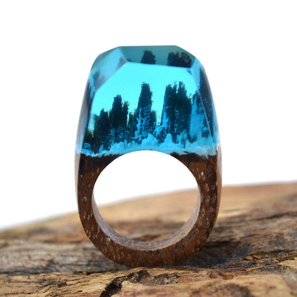 Snow Fall Deep Blue Forest Wooden Ring