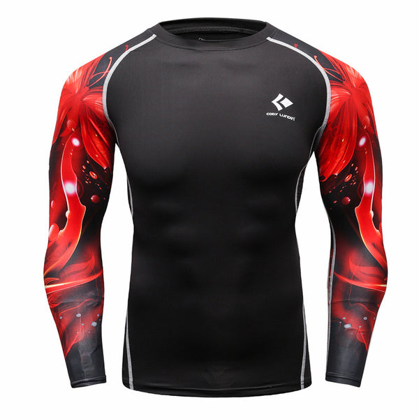 Red Galaxy Black Compression Shirt