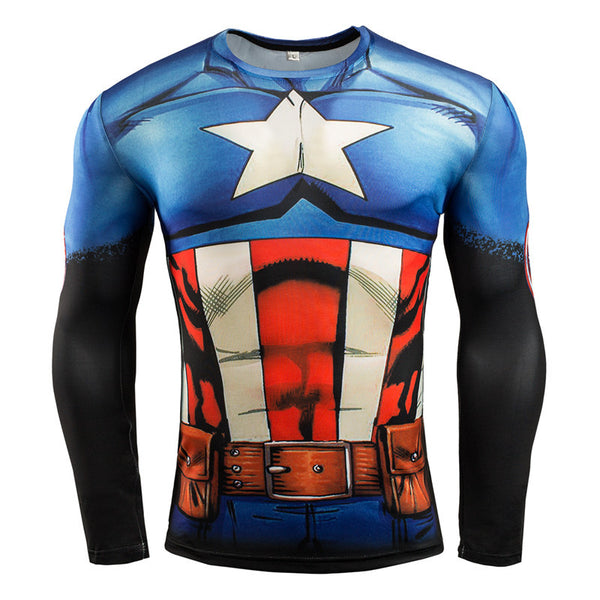 Captain America Blue Long Sleeve Compression Shirt