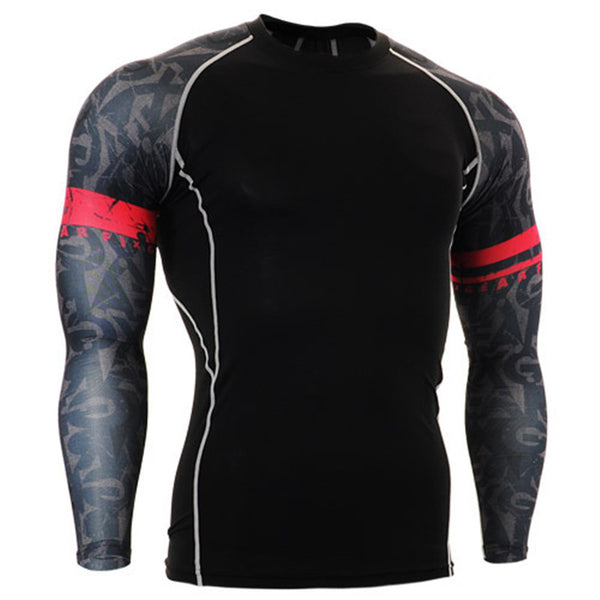 Smoky Red Band Black Compression Shirt