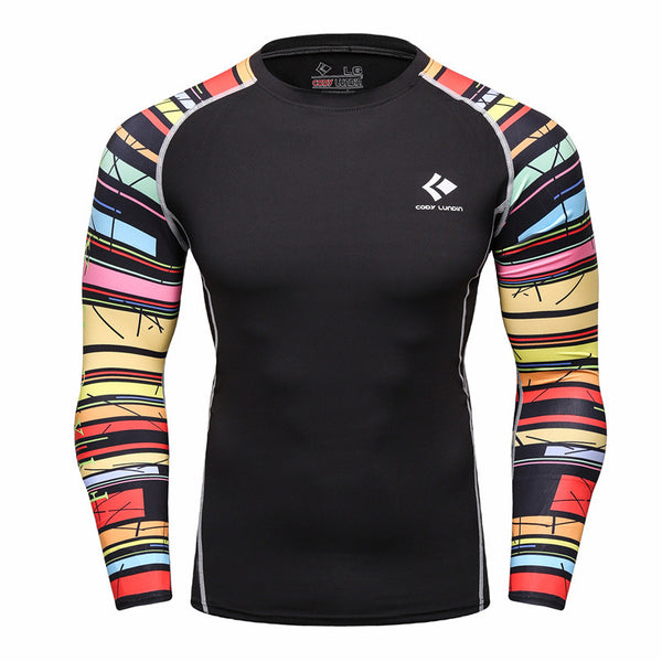 Multi Colored Black Compression Shirt