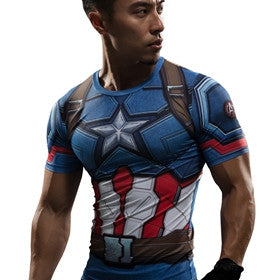 Captain America 3D Printed Compression T-shirt