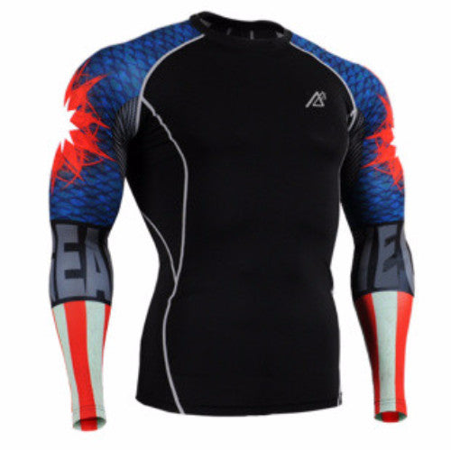 Black Printed Sleeve Compression Shirt